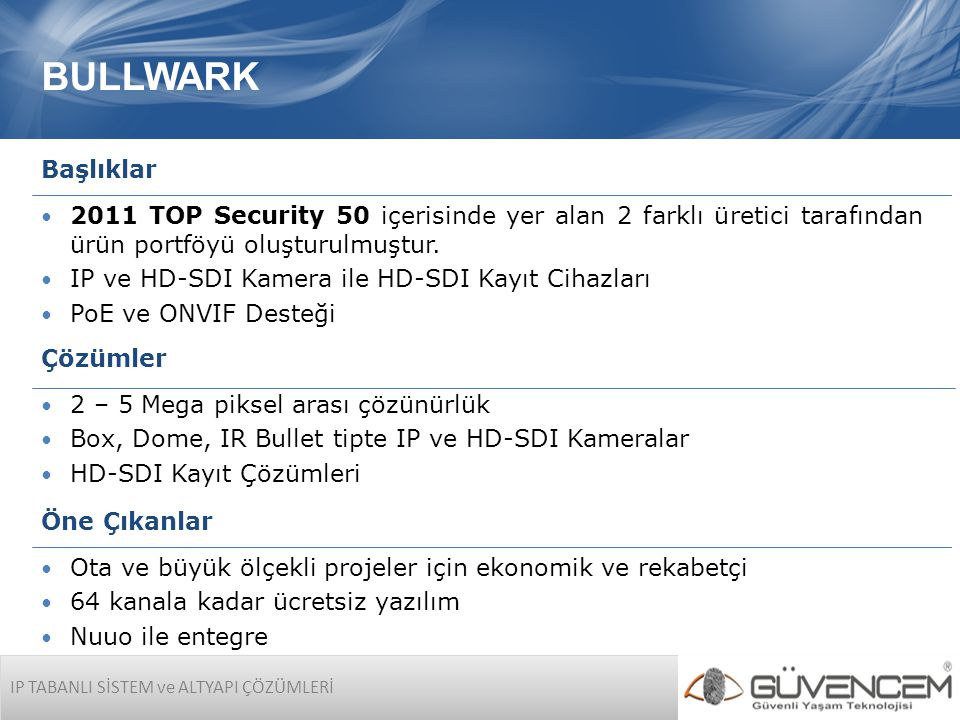 BULLWARK IP TABANLI SİSTEM ve ALTYAPI ÇÖZÜMLERİ Başlıklar  2011 TOP Security 50 içerisinde yer alan 2 farklı üretici tarafından ürün portföyü oluşturulmuştur.