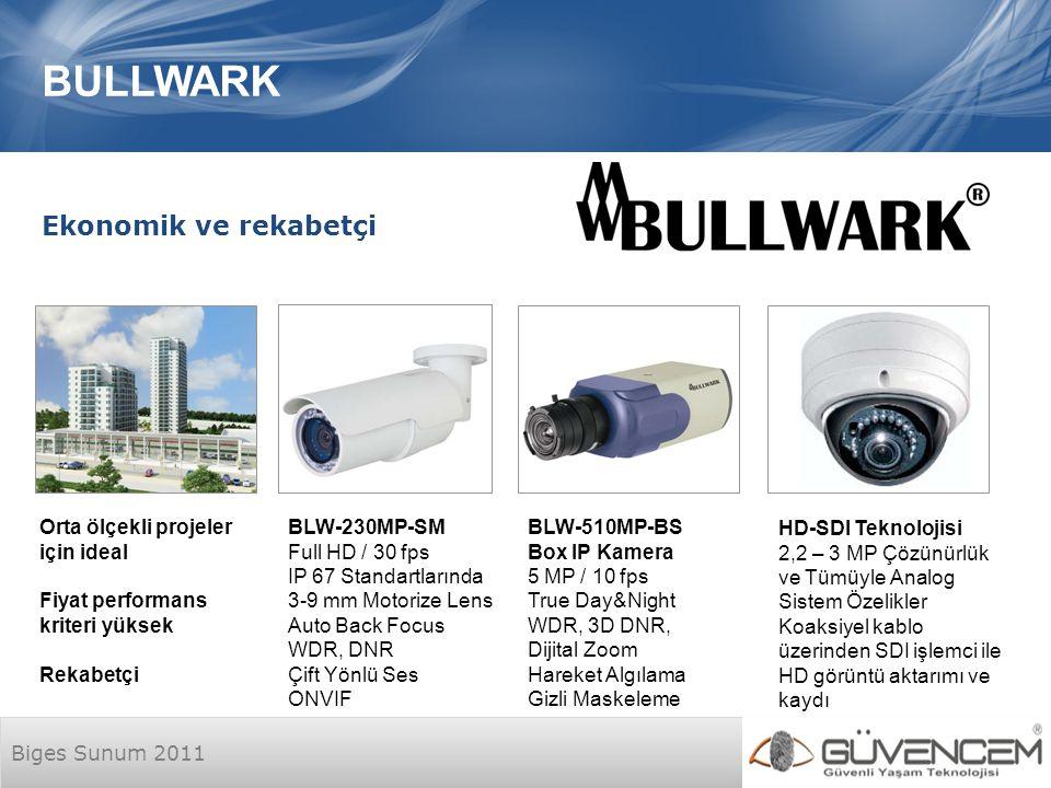 Biges Sunum 2011 BULLWARK HD-SDI Teknolojisi 2,2 – 3 MP Çözünürlük ve Tümüyle Analog Sistem Özelikler Koaksiyel kablo üzerinden SDI işlemci ile HD görüntü aktarımı ve kaydı Ekonomik ve rekabetçi Orta ölçekli projeler için ideal Fiyat performans kriteri yüksek Rekabetçi BLW-510MP-BS Box IP Kamera 5 MP / 10 fps True Day&Night WDR, 3D DNR, Dijital Zoom Hareket Algılama Gizli Maskeleme BLW-230MP-SM Full HD / 30 fps IP 67 Standartlarında 3-9 mm Motorize Lens Auto Back Focus WDR, DNR Çift Yönlü Ses ONVIF