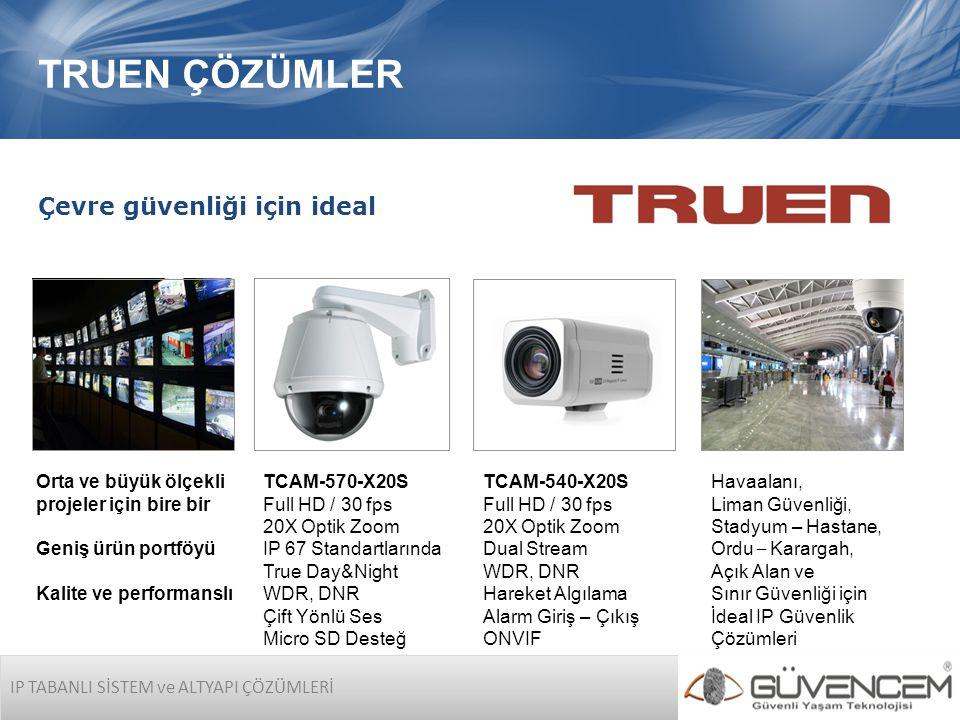 IP TABANLI SİSTEM ve ALTYAPI ÇÖZÜMLERİ TRUEN ÇÖZÜMLER Havaalanı, Liman Güvenliği, Stadyum – Hastane, Ordu – Karargah, Açık Alan ve Sınır Güvenliği için İdeal IP Güvenlik Çözümleri Orta ve büyük ölçekli projeler için bire bir Geniş ürün portföyü Kalite ve performanslı TCAM-540-X20S Full HD / 30 fps 20X Optik Zoom Dual Stream WDR, DNR Hareket Algılama Alarm Giriş – Çıkış ONVIF TCAM-570-X20S Full HD / 30 fps 20X Optik Zoom IP 67 Standartlarında True Day&Night WDR, DNR Çift Yönlü Ses Micro SD Desteğ Çevre güvenliği için ideal