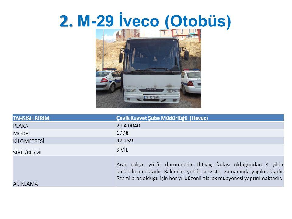 2. 2. M-29 İveco (Otobüs) TAHSİSLİ BİRİM Çevik Kuvvet Şube Müdürlüğü (Havuz) PLAKA 29 A 0040 MODEL 1998 KİLOMETRESİ 47.159 SİVİL/RESMİ SİVİL AÇIKLAMA