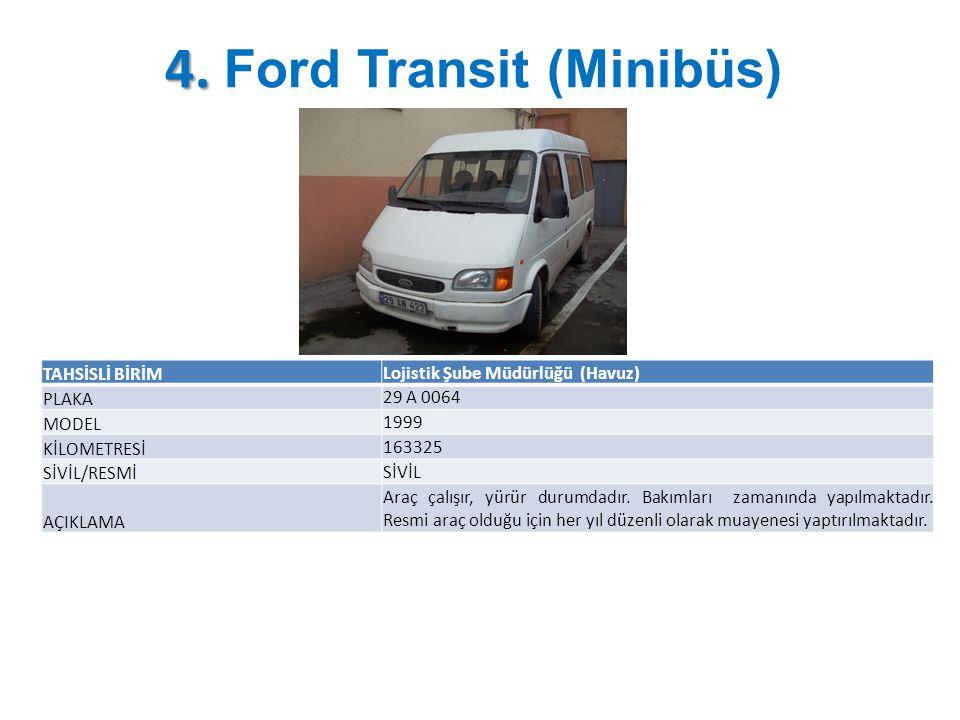 4. 4. Ford Transit (Minibüs) TAHSİSLİ BİRİM Lojistik Şube Müdürlüğü (Havuz) PLAKA 29 A 0064 MODEL 1999 KİLOMETRESİ 163325 SİVİL/RESMİ SİVİL AÇIKLAMA A