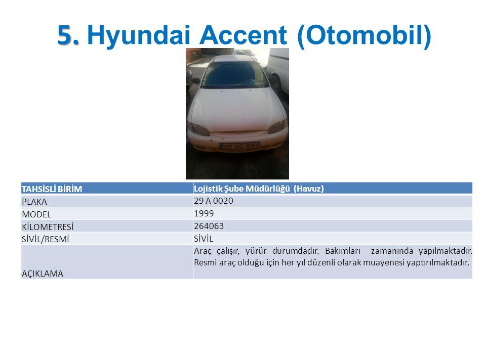 5. 5. Hyundai Accent (Otomobil) TAHSİSLİ BİRİM Lojistik Şube Müdürlüğü (Havuz) PLAKA 29 A 0020 MODEL 1999 KİLOMETRESİ 264063 SİVİL/RESMİ SİVİL AÇIKLAM