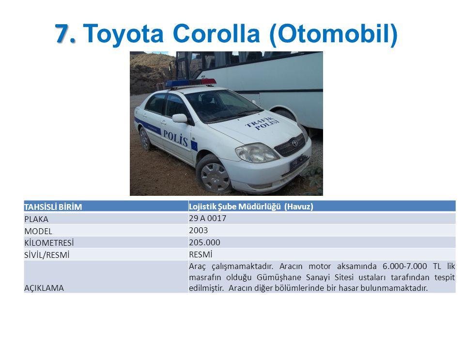 7. 7. Toyota Corolla (Otomobil) TAHSİSLİ BİRİM Lojistik Şube Müdürlüğü (Havuz) PLAKA 29 A 0017 MODEL 2003 KİLOMETRESİ 205.000 SİVİL/RESMİ RESMİ AÇIKLA