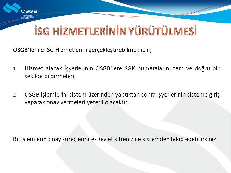 OSGB'ler ile İSG Hizmetlerini gerçekleştirebilmek için; 1. Hizmet alacak İşyerlerinin OSGB'lere SGK numaralarını tam ve doğru bir şekilde bildirmeleri