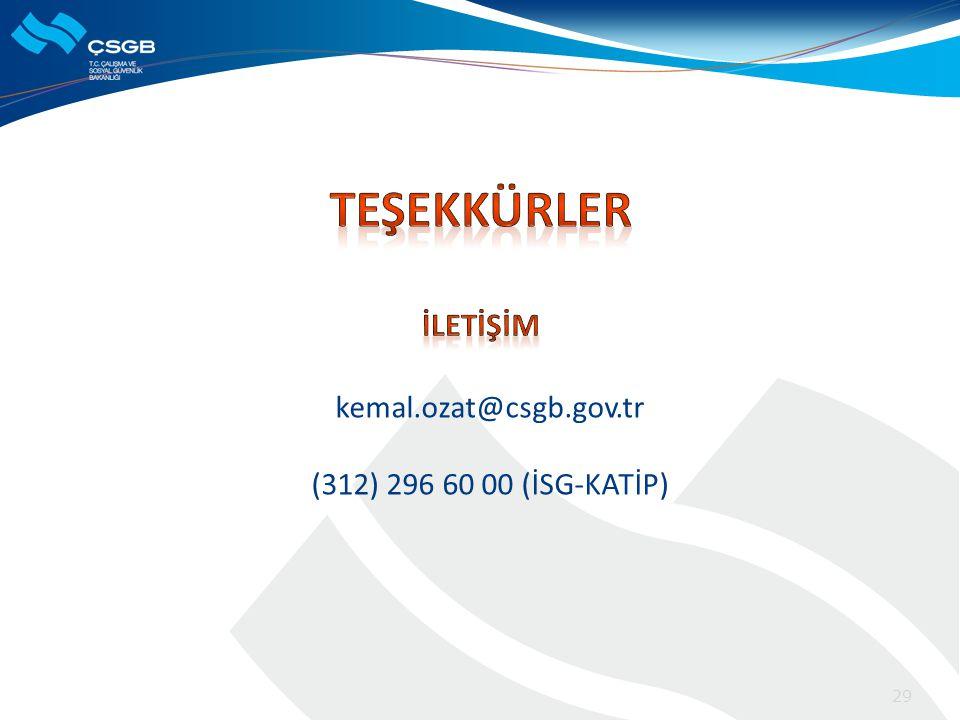 29 kemal.ozat@csgb.gov.tr (312) 296 60 00 (İSG-KATİP)