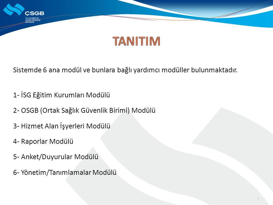 Sistemde 6 ana modül ve bunlara bağlı yardımcı modüller bulunmaktadır. 1- İSG Eğitim Kurumları Modülü 2- OSGB (Ortak Sağlık Güvenlik Birimi) Modülü 3-