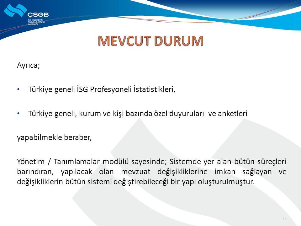 Ayrıca; • Türkiye geneli İSG Profesyoneli İstatistikleri, • Türkiye geneli, kurum ve kişi bazında özel duyuruları ve anketleri yapabilmekle beraber, Y