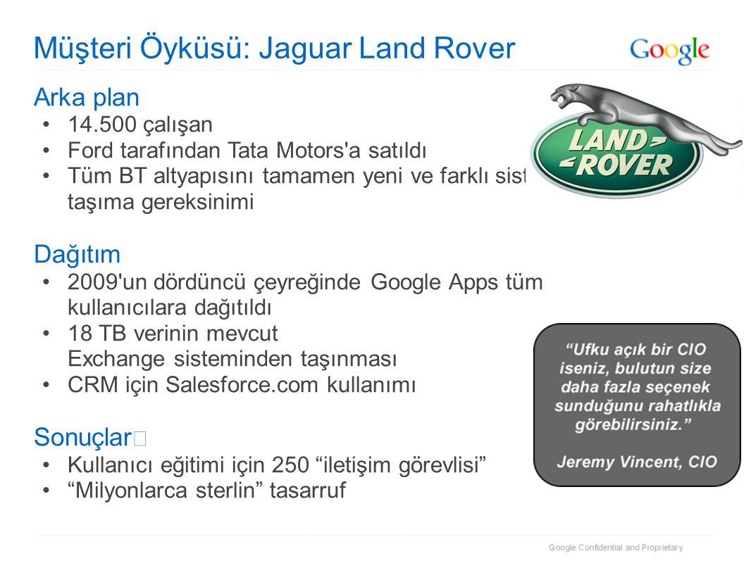 Müşteri Öyküsü: Jaguar Land Rover Arka plan •14.500 çalışan •Ford tarafından Tata Motors a satıldı •Tüm BT altyapısını tamamen yeni ve farklı sistemlere taşıma gereksinimi Dağıtım •2009 un dördüncü çeyreğinde Google Apps tüm kullanıcılara dağıtıldı •18 TB verinin mevcut Exchange sisteminden taşınması •CRM için Salesforce.com kullanımı Sonuçlar •Kullanıcı eğitimi için 250 iletişim görevlisi • Milyonlarca sterlin tasarruf