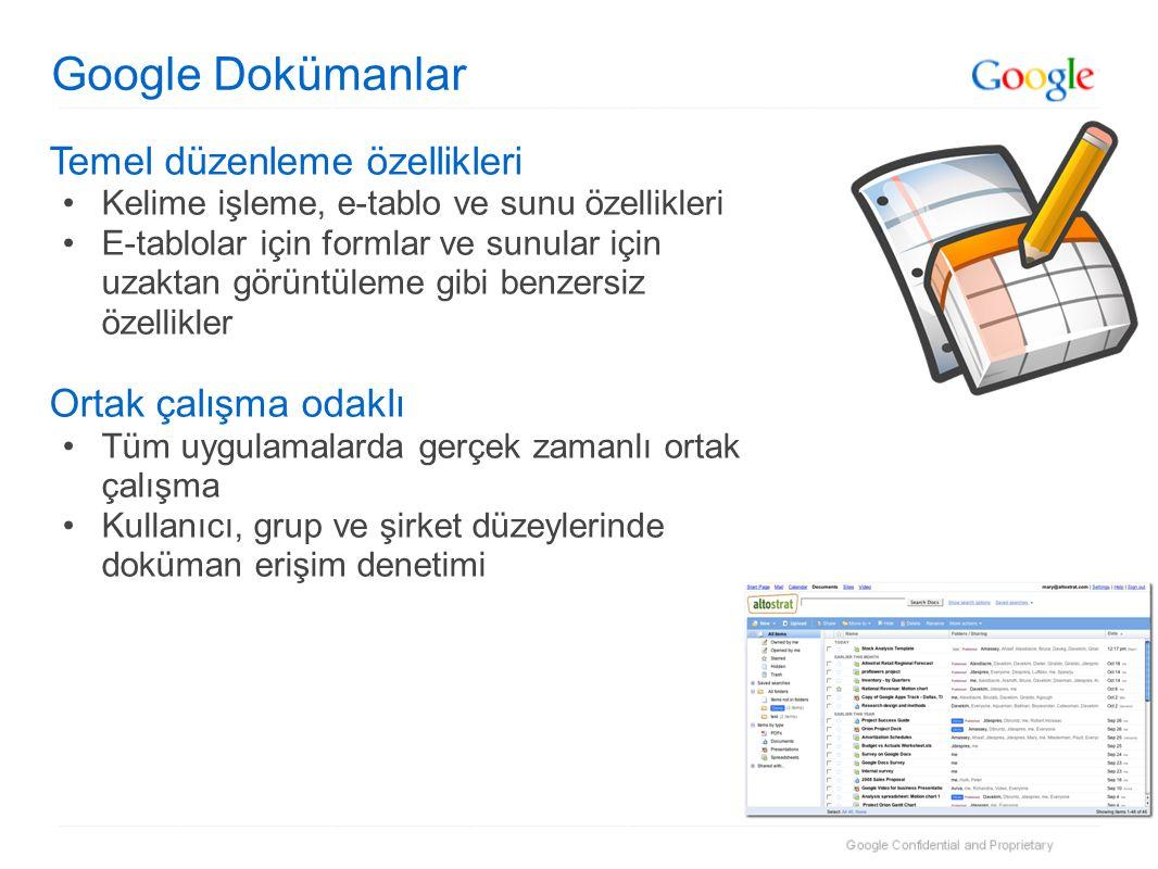 Google Dokümanlar Temel düzenleme özellikleri •Kelime işleme, e-tablo ve sunu özellikleri •E-tablolar için formlar ve sunular için uzaktan görüntüleme gibi benzersiz özellikler Ortak çalışma odaklı •Tüm uygulamalarda gerçek zamanlı ortak çalışma •Kullanıcı, grup ve şirket düzeylerinde doküman erişim denetimi