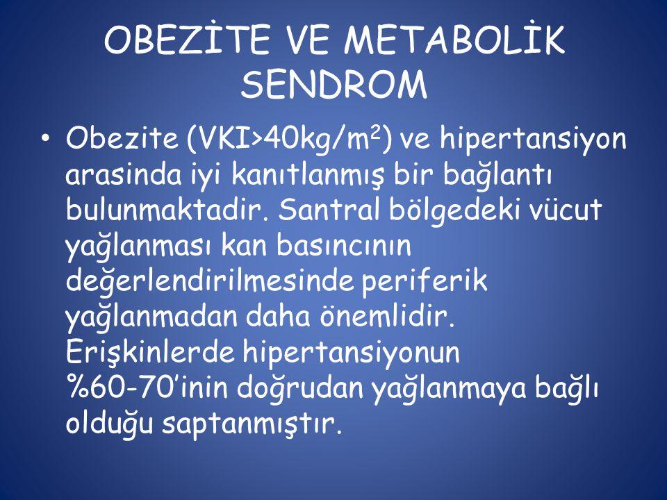 OBEZİTE VE METABOLİK SENDROM • Obezite (VKI>40kg/m 2 ) ve hipertansiyon arasinda iyi kanıtlanmış bir bağlantı bulunmaktadir. Santral bölgedeki vücut y
