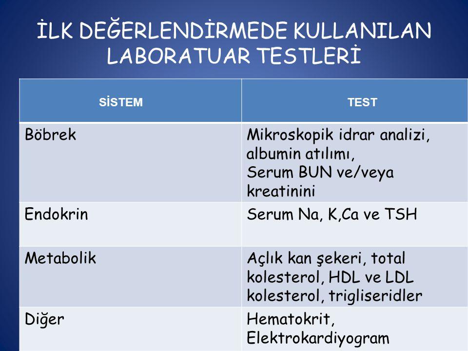 İLK DEĞERLENDİRMEDE KULLANILAN LABORATUAR TESTLERİ SİSTEM TEST BöbrekMikroskopik idrar analizi, albumin atılımı, Serum BUN ve/veya kreatinini Endokrin