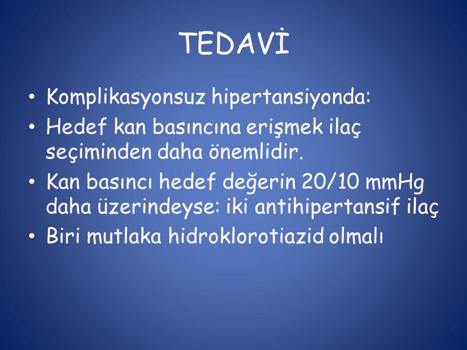 TEDAVİ • Komplikasyonsuz hipertansiyonda: • Hedef kan basıncına erişmek ilaç seçiminden daha önemlidir. • Kan basıncı hedef değerin 20/10 mmHg daha üz