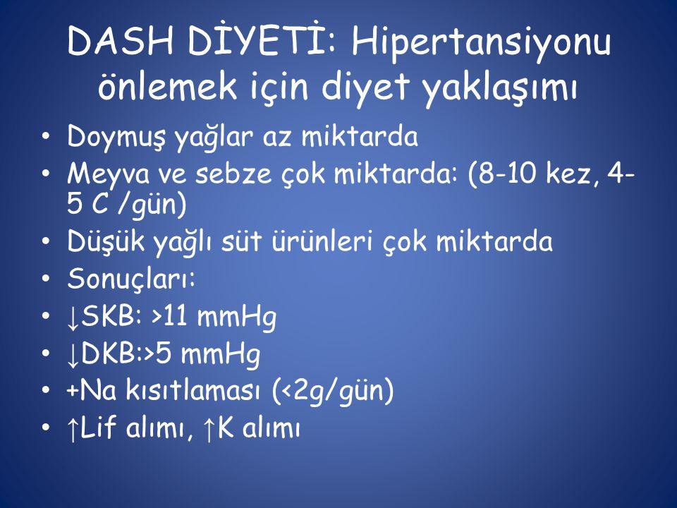 DASH DİYETİ: Hipertansiyonu önlemek için diyet yaklaşımı • Doymuş yağlar az miktarda • Meyva ve sebze çok miktarda: (8-10 kez, 4- 5 C /gün) • Düşük ya