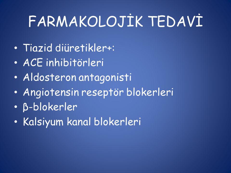 FARMAKOLOJİK TEDAVİ • Tiazid d iüretikler+: • ACE inhibitörleri • Aldosteron antagonisti • Angiotensin reseptör blokerleri • β-blokerler • Kalsiyum ka