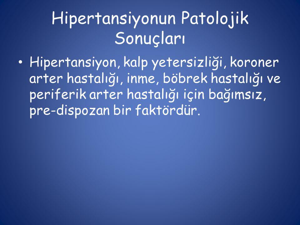 Hipertansiyonun Patolojik Sonuçları • Hipertansiyon, kalp yetersizliği, koroner arter hastalığı, inme, böbrek hastalığı ve periferik arter hastalığı i