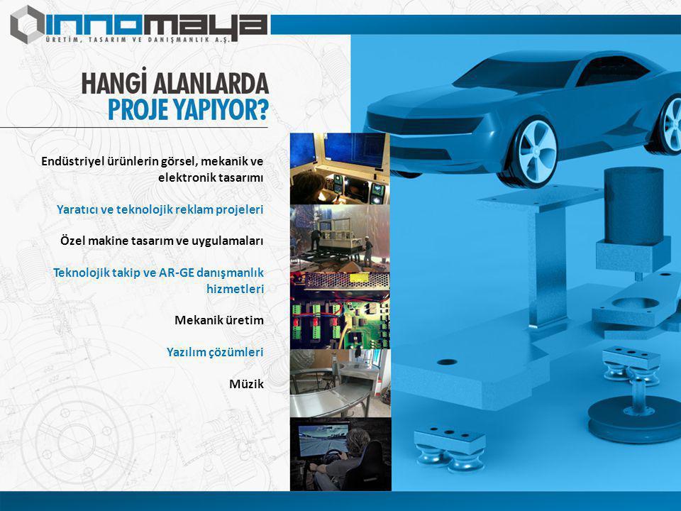 Endüstriyel ürünlerin görsel, mekanik ve elektronik tasarımı Yaratıcı ve teknolojik reklam projeleri Özel makine tasarım ve uygulamaları Teknolojik takip ve AR-GE danışmanlık hizmetleri Mekanik üretim Yazılım çözümleri Müzik