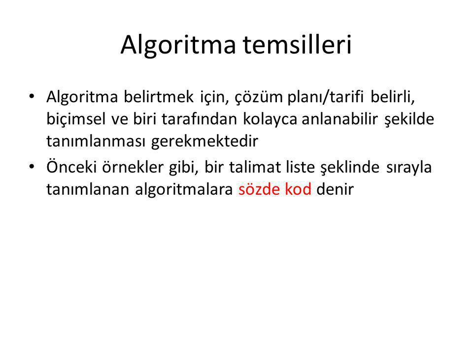 Algoritma temsilleri • Algoritma belirtmek için, çözüm planı/tarifi belirli, biçimsel ve biri tarafından kolayca anlanabilir şekilde tanımlanması gere