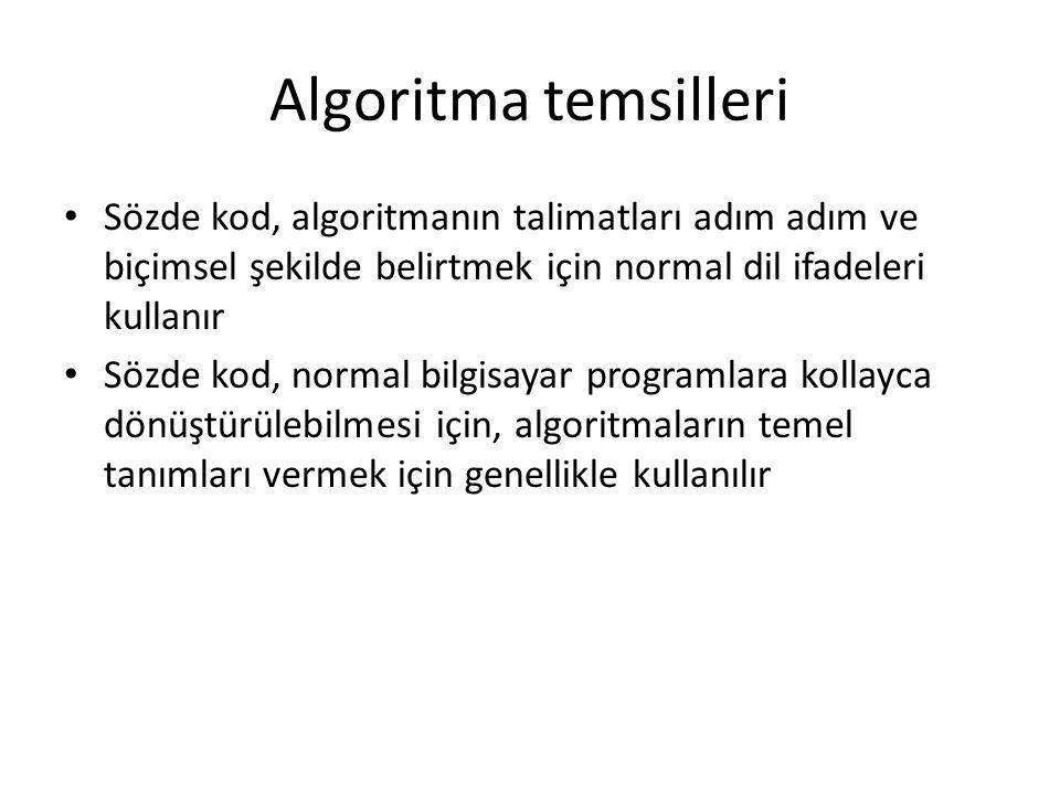 Algoritma temsilleri • Sözde kod, algoritmanın talimatları adım adım ve biçimsel şekilde belirtmek için normal dil ifadeleri kullanır • Sözde kod, nor