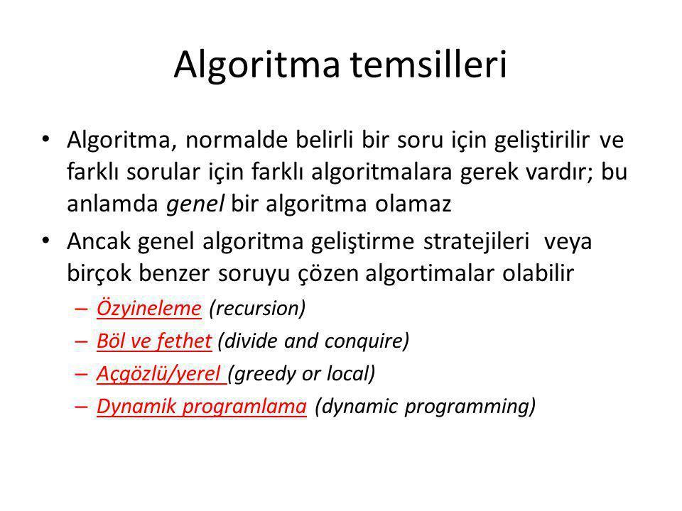 Algoritma temsilleri • Algoritma, normalde belirli bir soru için geliştirilir ve farklı sorular için farklı algoritmalara gerek vardır; bu anlamda gen