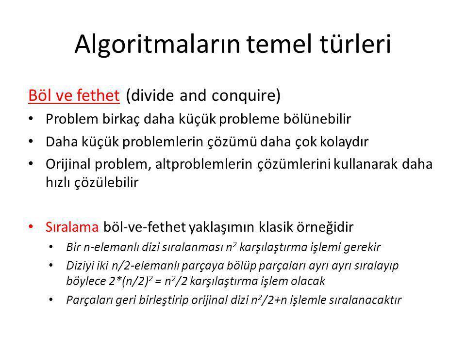 Algoritmaların temel türleri Böl ve fethet (divide and conquire) • Problem birkaç daha küçük probleme bölünebilir • Daha küçük problemlerin çözümü dah