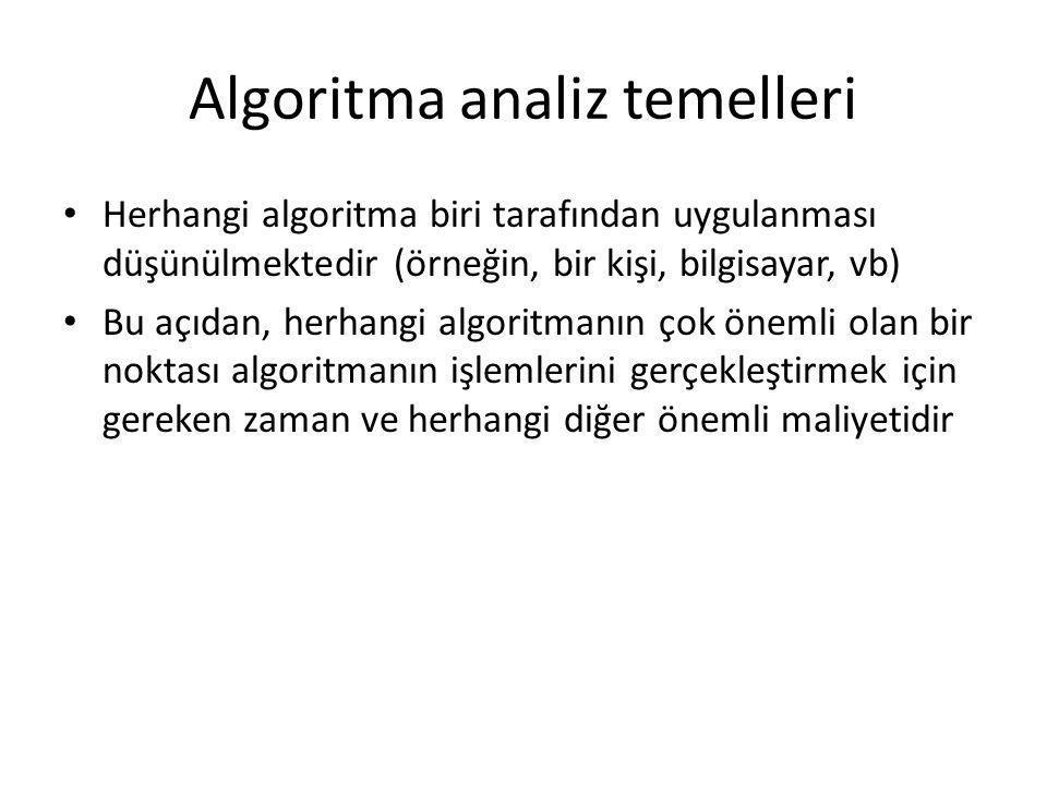 Algoritma analiz temelleri • Herhangi algoritma biri tarafından uygulanması düşünülmektedir (örneğin, bir kişi, bilgisayar, vb) • Bu açıdan, herhangi