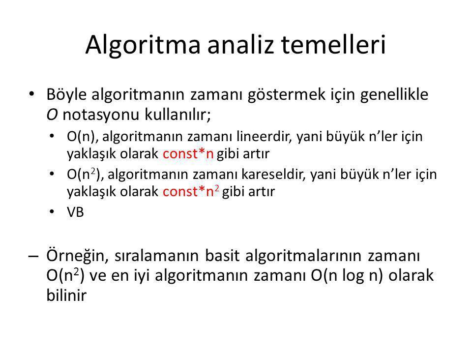 Algoritma analiz temelleri • Böyle algoritmanın zamanı göstermek için genellikle O notasyonu kullanılır; • O(n), algoritmanın zamanı lineerdir, yani b