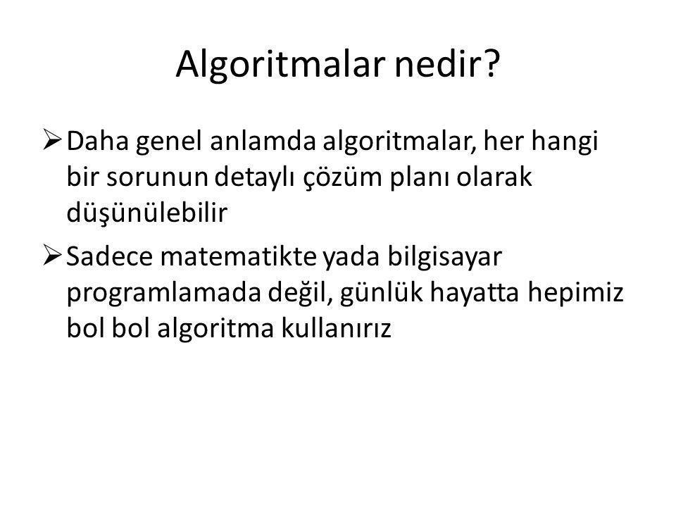 Algoritmalar nedir?  Daha genel anlamda algoritmalar, her hangi bir sorunun detaylı çözüm planı olarak düşünülebilir  Sadece matematikte yada bilgis
