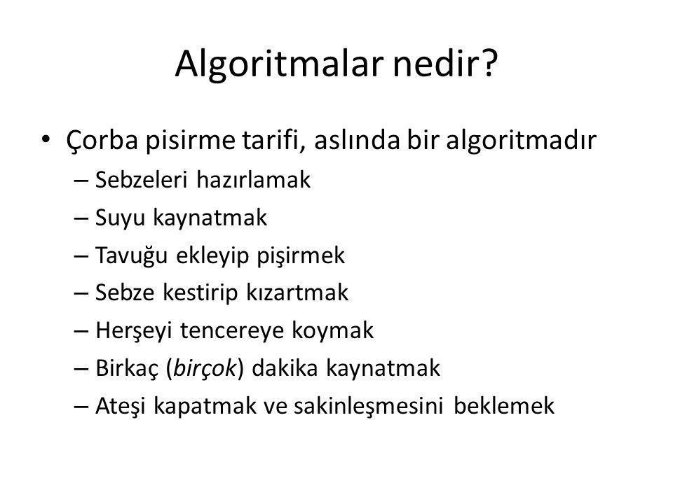 Algoritma analiz temelleri Problem: veritabanında verileri sıralamak gerekir; • Veritabanında kayıt sayısı n =1,000,000=10 6 • O(n 2 ) sıralama algoritmasının işletme zamanı n 2 =10 12 • O(n log n) algoritmasının işletme zamanı n log n=6*10 6 • Eğer bilgisayar sanyede 10,000 işlem yaparsa, O(n 2 ) sıralama 10 8 saniye ve O(n log n) sıralama sadece 600 saniye gerekecektir.