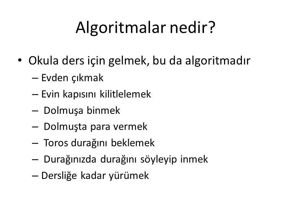 Algoritma temsilleri • Algoritma belirtmek için, çözüm planı/tarifi belirli, biçimsel ve biri tarafından kolayca anlanabilir şekilde tanımlanması gerekmektedir • Önceki örnekler gibi, bir talimat liste şeklinde sırayla tanımlanan algoritmalara sözde kod denir