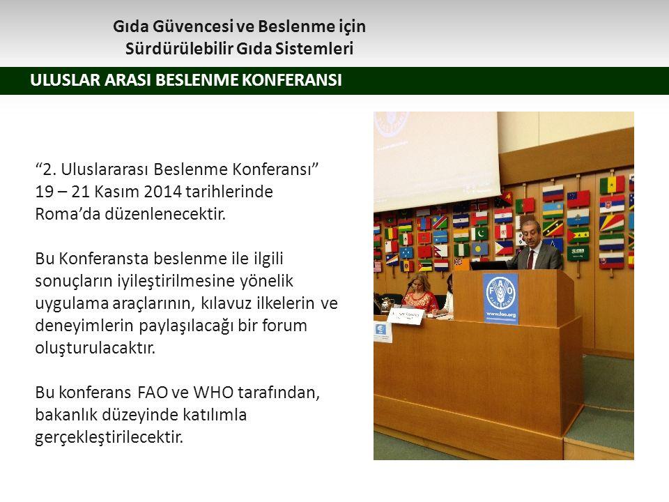 """1.z ULUSLAR ARASI BESLENME KONFERANSI """"2. Uluslararası Beslenme Konferansı"""" 19 – 21 Kasım 2014 tarihlerinde Roma'da düzenlenecektir. Bu Konferansta be"""