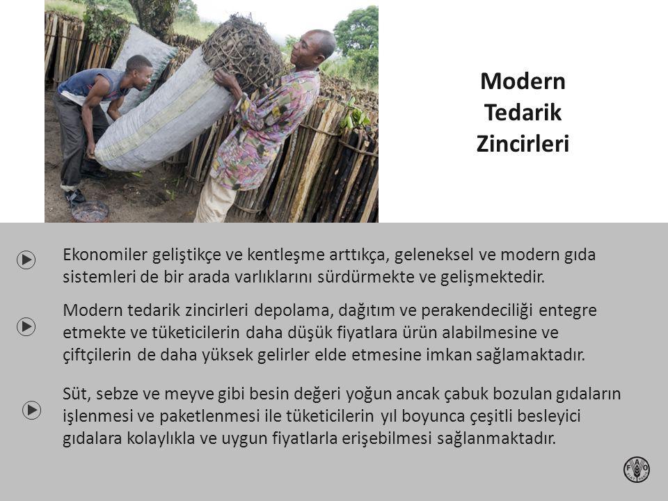 Ekonomiler geliştikçe ve kentleşme arttıkça, geleneksel ve modern gıda sistemleri de bir arada varlıklarını sürdürmekte ve gelişmektedir. Modern tedar