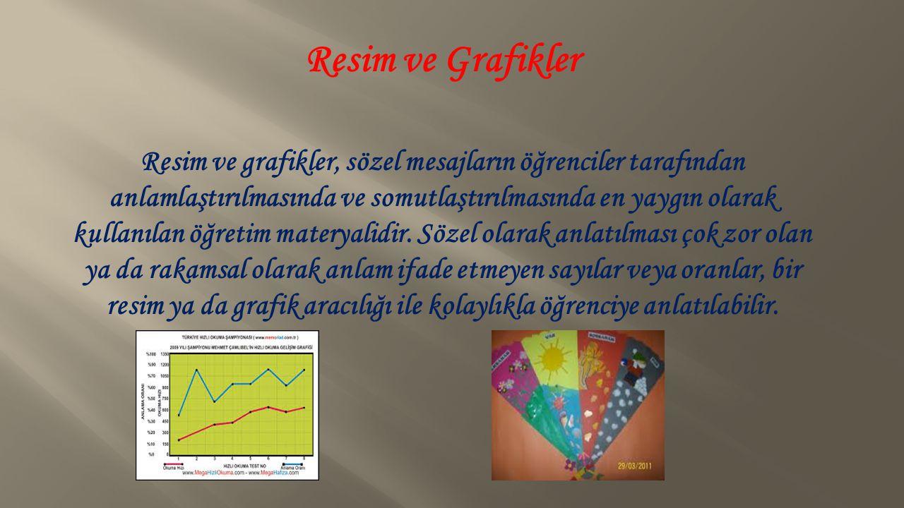 Resim ve Grafikler Resim ve grafikler, sözel mesajların öğrenciler tarafından anlamlaştırılmasında ve somutlaştırılmasında en yaygın olarak kullanılan