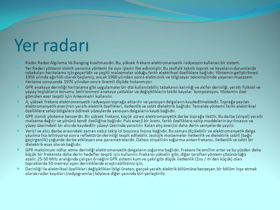 Yer radarı  Radar Radyo Algılama Ve Ranging kısaltmasıdır. Bu, yüksek frekans elektromanyetik radyasyon kullanan bir sistem.  Yer Radarı yöntemi sis