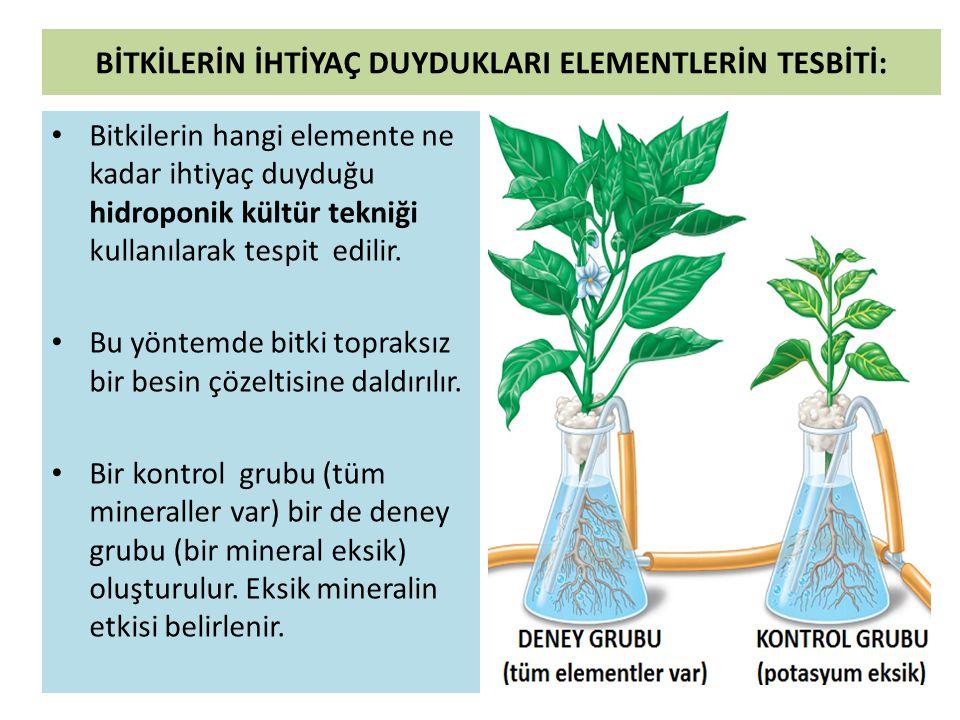 • Bitkiler için gerekli olan elementler makro ve mikro elementler olmak üzere iki gruba ayrılır.