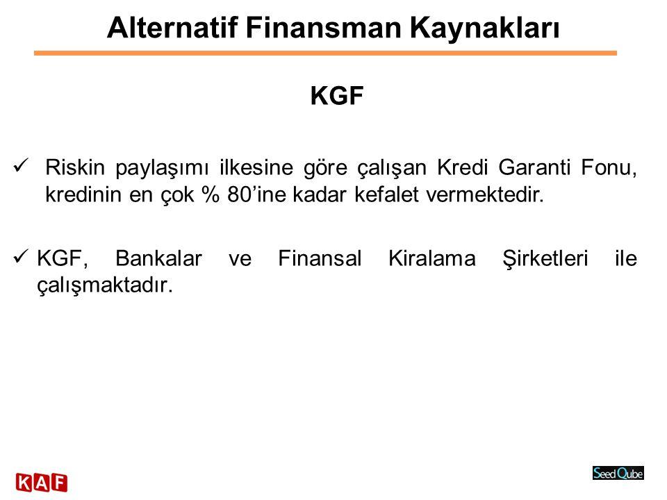 Alternatif Finansman Kaynakları KGF  Riskin paylaşımı ilkesine göre çalışan Kredi Garanti Fonu, kredinin en çok % 80'ine kadar kefalet vermektedir. 