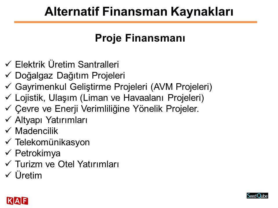 Alternatif Finansman Kaynakları Proje Finansmanı  Elektrik Üretim Santralleri  Doğalgaz Dağıtım Projeleri  Gayrimenkul Geliştirme Projeleri (AVM Pr
