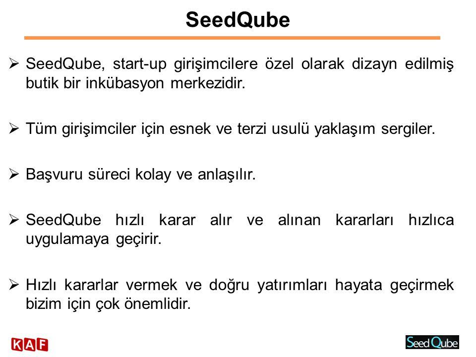 SeedQube  SeedQube, start-up girişimcilere özel olarak dizayn edilmiş butik bir inkübasyon merkezidir.  Tüm girişimciler için esnek ve terzi usulü y