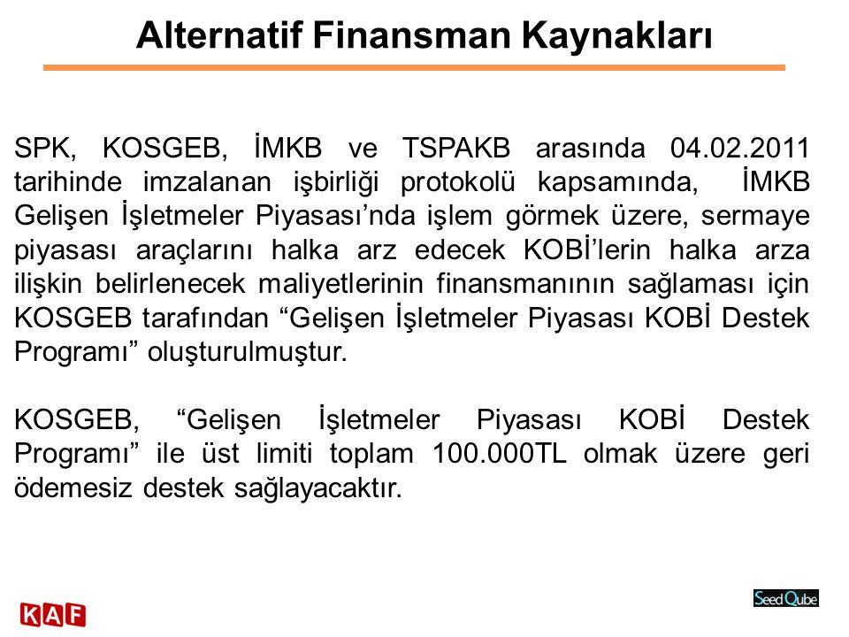 Alternatif Finansman Kaynakları SPK, KOSGEB, İMKB ve TSPAKB arasında 04.02.2011 tarihinde imzalanan işbirliği protokolü kapsamında, İMKB Gelişen İşlet
