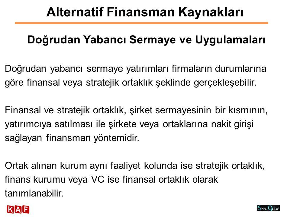 Alternatif Finansman Kaynakları Doğrudan Yabancı Sermaye ve Uygulamaları Doğrudan yabancı sermaye yatırımları firmaların durumlarına göre finansal vey