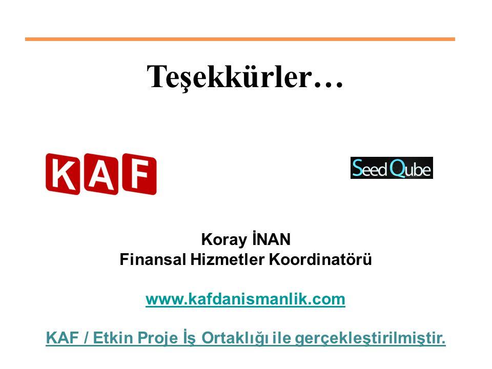 Teşekkürler… Koray İNAN Finansal Hizmetler Koordinatörü www.kafdanismanlik.com KAF / Etkin Proje İş Ortaklığı ile gerçekleştirilmiştir.
