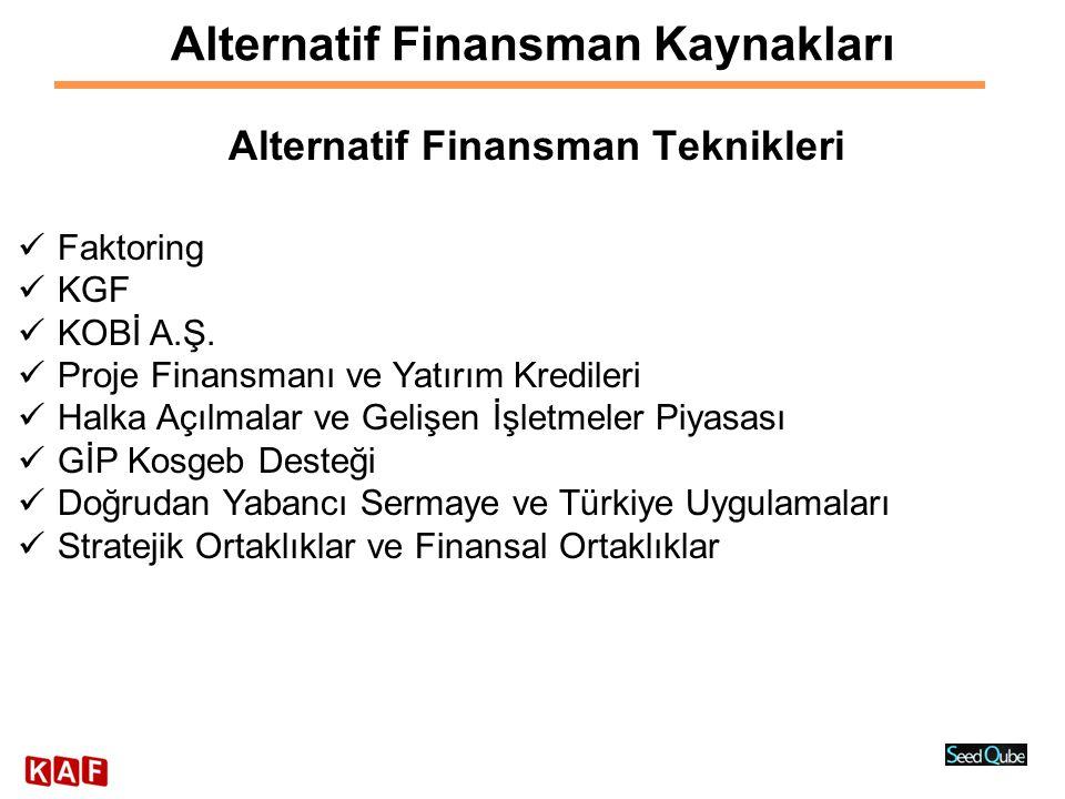 Alternatif Finansman Kaynakları Alternatif Finansman Teknikleri  Faktoring  KGF  KOBİ A.Ş.  Proje Finansmanı ve Yatırım Kredileri  Halka Açılmala