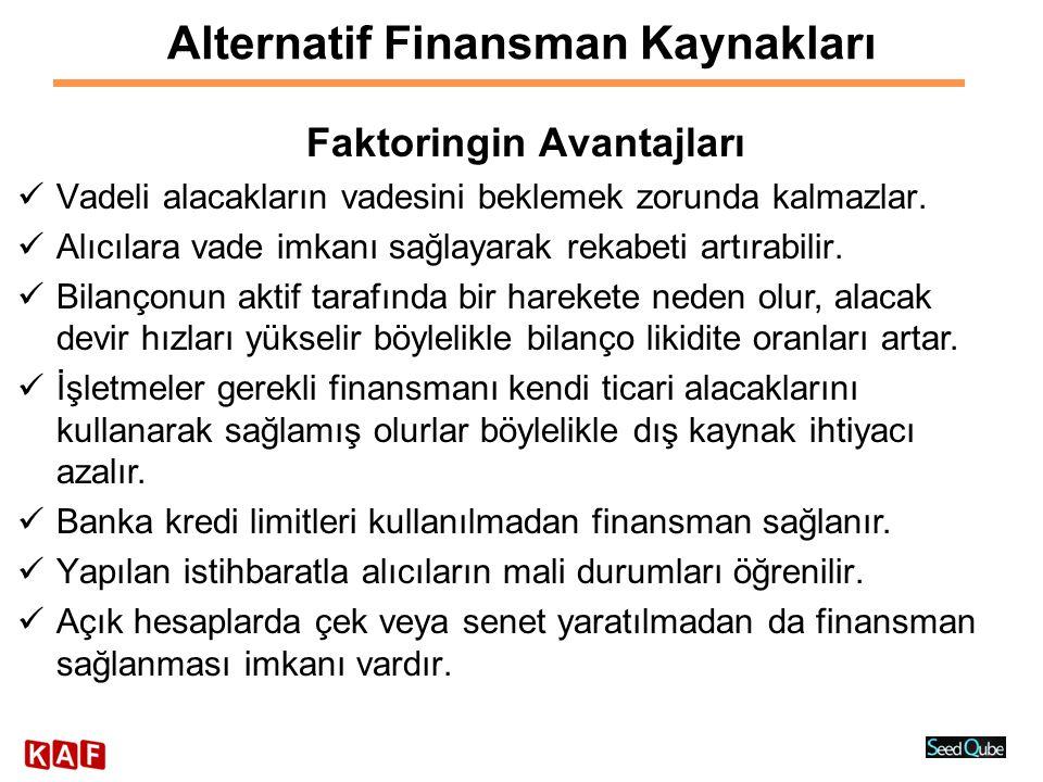 Alternatif Finansman Kaynakları Proje Finansmanı  Başvuru ve ön değerlendirme  İstihbarat  Teknik değerlendirme (teknik etüt, teknolojik inceleme, fizibilite, kapasite)  Yatırım tutarının hesaplanması (sabit yatırım tutarının ve işletme sermayesinin hesaplanması)  Ekonomik değerlendirme (ürün özellikleri, Talep-Arz koşulları)  Mali değerlendirme (Tüm Değerlemelerin Karması)