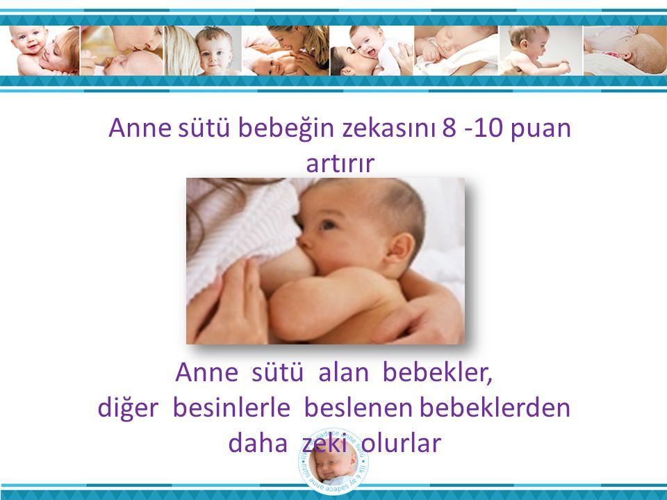 Anne sütü bebeğin zekasını 8 -10 puan artırır Anne sütü alan bebekler, diğer besinlerle beslenen bebeklerden daha zeki olurlar