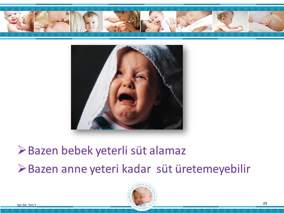  Bazen bebek yeterli süt alamaz  Bazen anne yeteri kadar süt üretemeyebilir 06.06.2012 49