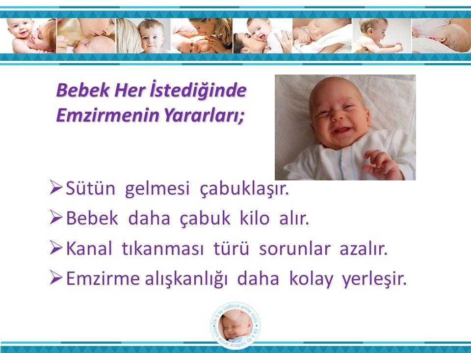 Bebek Her İstediğinde Emzirmenin Yararları;  Sütün gelmesi çabuklaşır.  Bebek daha çabuk kilo alır.  Kanal tıkanması türü sorunlar azalır.  Emzirm