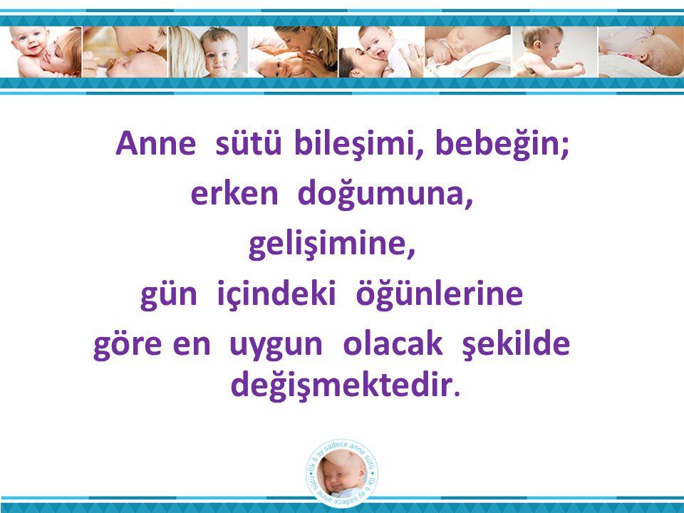 Anne sütü bileşimi, bebeğin; erken doğumuna, gelişimine, gün içindeki öğünlerine göre en uygun olacak şekilde değişmektedir.