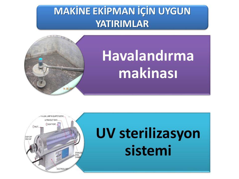 101-1 Süt Üreten Tarımsal İşletmeler MAKİNE EKİPMAN İÇİN UYGUN YATIRIMLAR Havalandırma makinası UV sterilizasyon sistemi