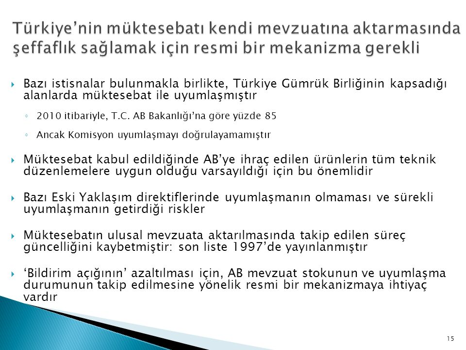  Bazı istisnalar bulunmakla birlikte, Türkiye Gümrük Birliğinin kapsadığı alanlarda müktesebat ile uyumlaşmıştır ◦ 2010 itibariyle, T.C. AB Bakanlığı