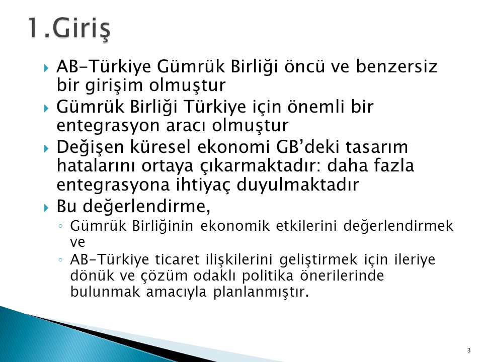  AB-Türkiye Gümrük Birliği öncü ve benzersiz bir girişim olmuştur  Gümrük Birliği Türkiye için önemli bir entegrasyon aracı olmuştur  Değişen küresel ekonomi GB'deki tasarım hatalarını ortaya çıkarmaktadır: daha fazla entegrasyona ihtiyaç duyulmaktadır  Bu değerlendirme, ◦ Gümrük Birliğinin ekonomik etkilerini değerlendirmek ve ◦ AB-Türkiye ticaret ilişkilerini geliştirmek için ileriye dönük ve çözüm odaklı politika önerilerinde bulunmak amacıyla planlanmıştır.