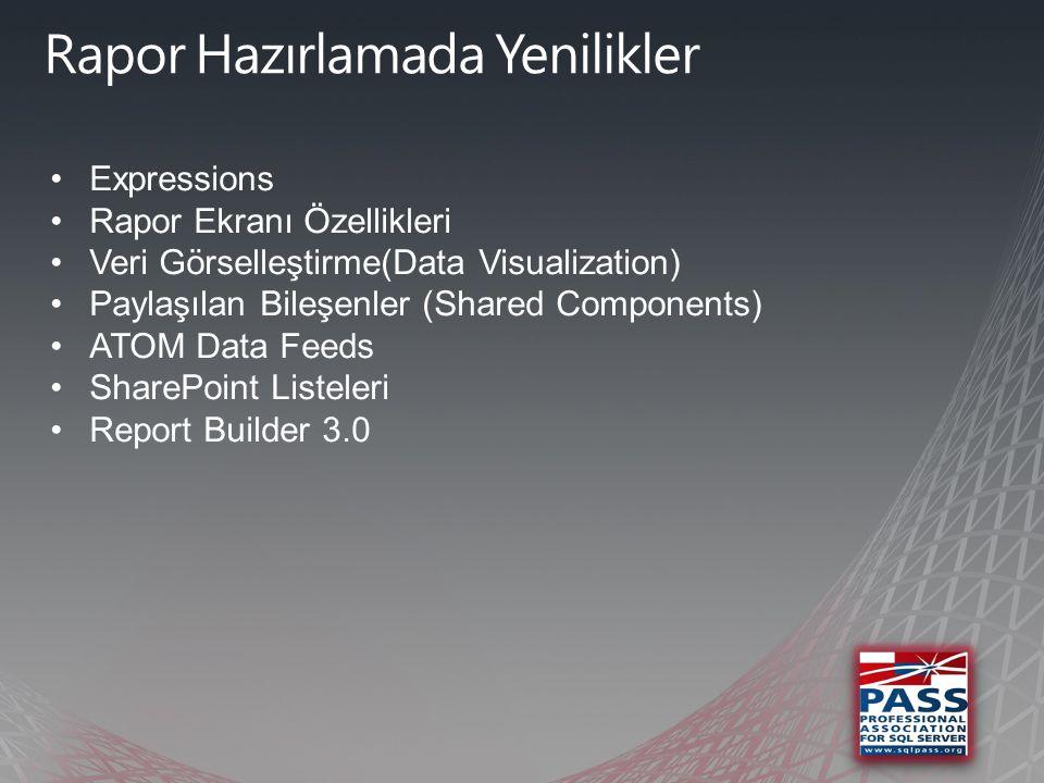 •Expressions •Rapor Ekranı Özellikleri •Veri Görselleştirme(Data Visualization) •Paylaşılan Bileşenler (Shared Components) •ATOM Data Feeds •SharePoint Listeleri •Report Builder 3.0